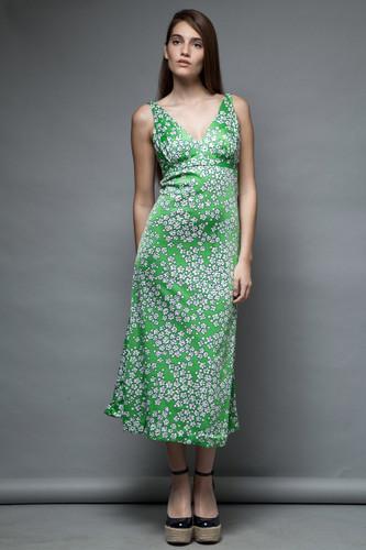 open back vintage 70s op art play suit playsuit maxi dress Jantzen green white floral M