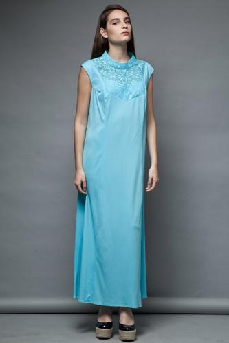plus size vintage 70s maxi hostess dress blue floral lace sleeveless 1x 2x