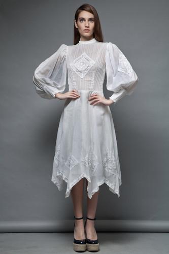 vintage 70s romantic white dress boho bridal 100% gauze cotton puff balloon sleeves M