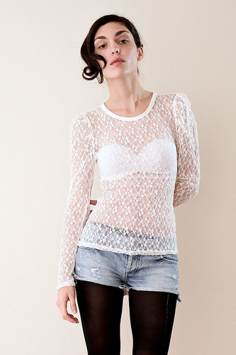 Puffed Shoulder Sheer Lace Top XS S M L