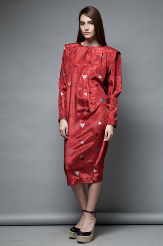vintage 80s day dress red satin jacquard silky geometric print L