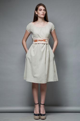 LANVIN dress vintage 70s belted obi belt sash khaki tan XS S