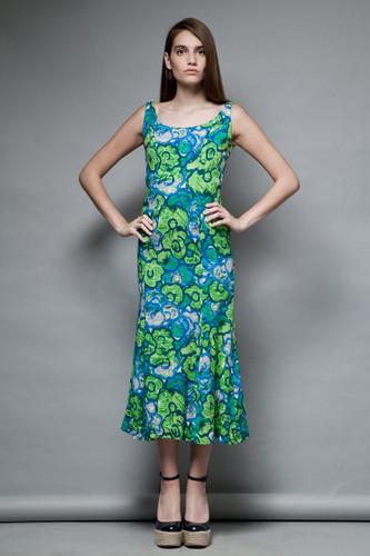 vintage 70s green maxi dress barkcloth floral print fish tail flare S