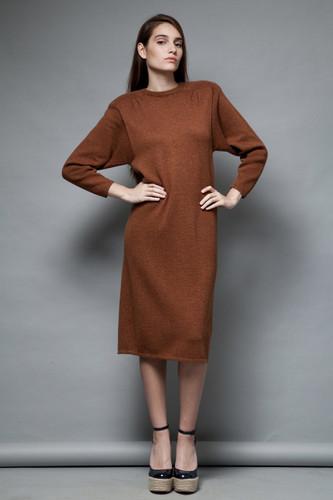 vintage St John Marie Gray 80s sweater dress brown shoulder pads M L