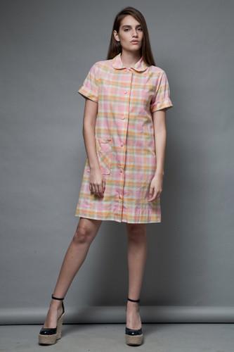 vintage 70s Peter Pan collar cotton dress shirtdress plaid pink pockets M
