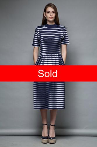 vintage 80s nautical sailor t-shirt dress horizontal stripes navy white M
