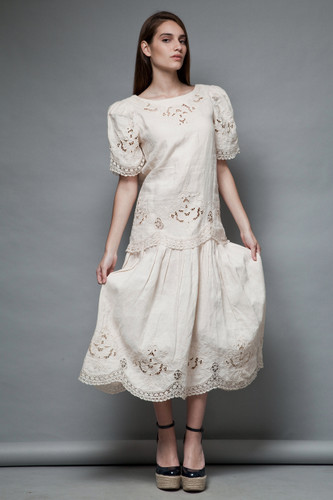vintage linen dress floral eyelet crochet trims pleated cream bridal M