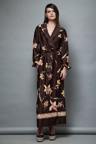 floral maxi wrap dress robe brown vintage 1970s ruffles Eurobella M L