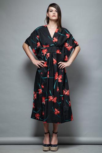 kaftan dress vintage 1970s black red floral orchid muumuu kimono sleeves ONE SIZE