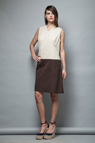 1970s drop waist dress a-line brown khaki color block sleeveless L