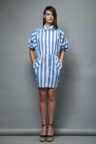 striped mini dress blue white chambray cotton pockets batwing sleeves vintage 80s