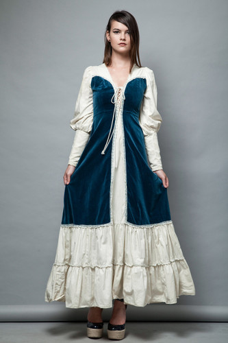 1970s Gunne Sax prairie dress blue velvet cotton lace up front bishop sleeves XS S