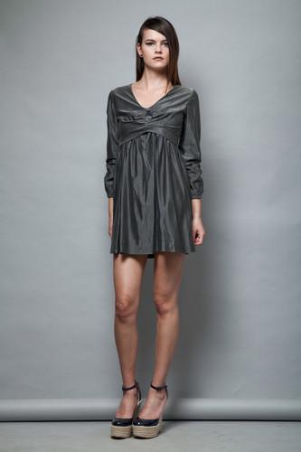 MOD empire mini dress babydoll vintage 1960s metallic gray long sleeves S