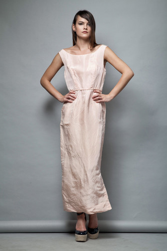 1950s pale pink gown vintage evening dress sleeveless M