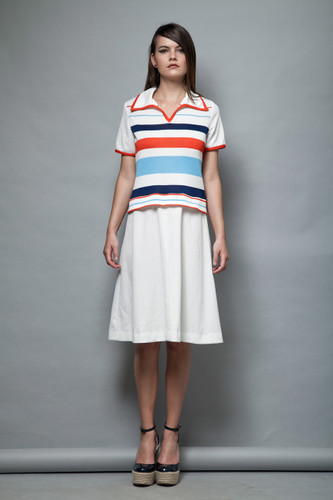 striped knit dress collar stripes vintage 1970s red white blue M