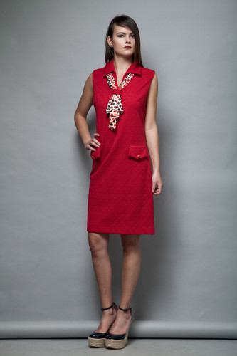 1960s red ascot dress Mad Men secretary stewardess scarf polka dot sleeveless L