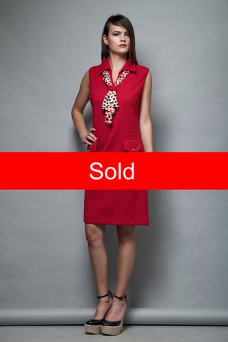 1960s red ascot dress Mad Men secretary stewardess scarf polka dot sleeveless L