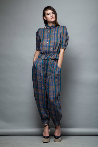 herem pants top set 2-piece linen plaid blue vintage 80s Japanese Hanai Yukiko S