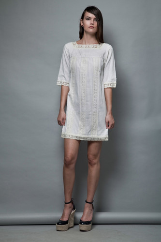 yoke shift dress a-line white cotton vintage 60s MOD pintuck lace square neck XS