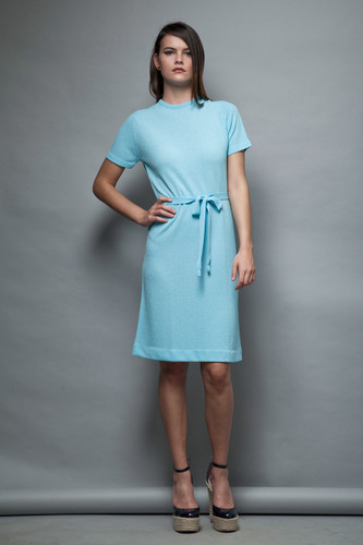 blue knit dress belted sash ascot textured knee length short sleeves vintage 60s