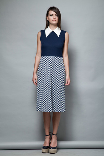 mod pointy collar dress navy white checker plaid sleeveless vintage 1960s M
