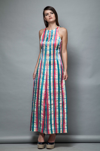 sleeveless maxi dress vintage 1970s striped plaid pink blue satin S