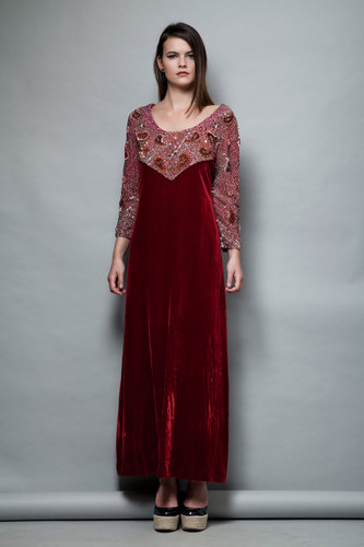 red velvet evening gown beaded maxi dress vintage 1960s