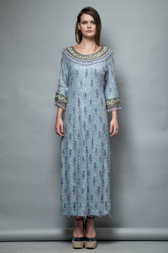 vintage 50s beaded gown bell sleeves blue wool knit formal maxi dress M L