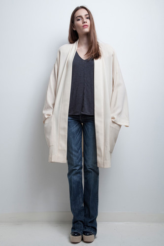 long wool coat kimono open light weight jacket cream vintage 80s Ann Klein ONE SIZE