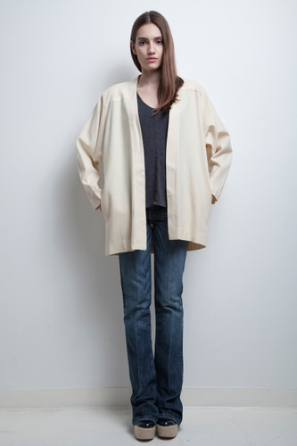 open jacket kimono coat wool vintage 80s cream batwing sleeves ONE SIZE