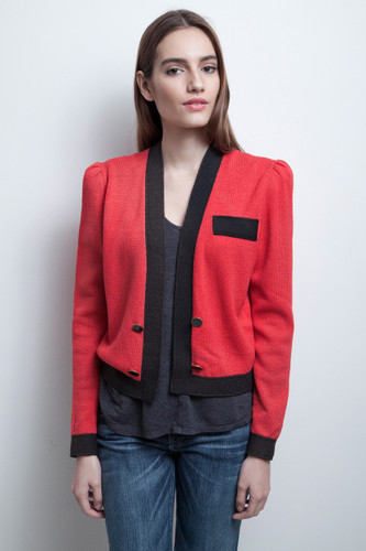 St. John jacket santana knit red black open front vintage 80s M