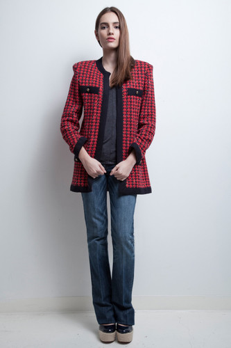 long cardigan sweater duster red houndstooth knit Castleberry vintage 80s S M