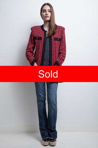 (RIMA) long cardigan sweater duster red houndstooth knit Castleberry vintage 80s S M