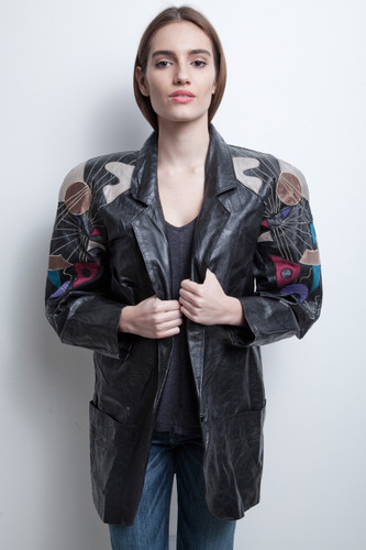 oversized leather jacket coat vintage 80s long textured black applique embroidery colorful M L