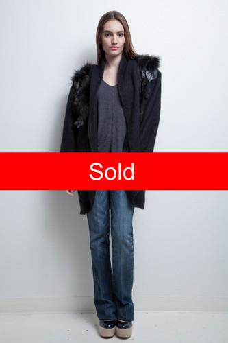 long sweater duster black angora rabbit fur floral applique vintage 80s ONE SIZE