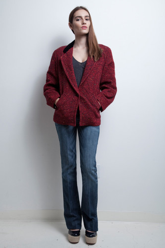 red herringbone tweed jacket vintage 80s Guy Laroche 36 M L