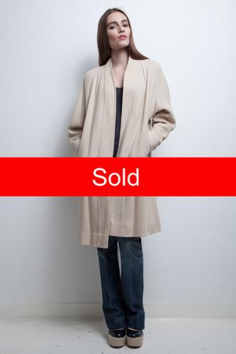 vintage 60s minimalist coat cream a-line open front S M