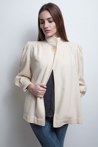 cream wool jacket coat feminine puff sleeves vintage 80s S M