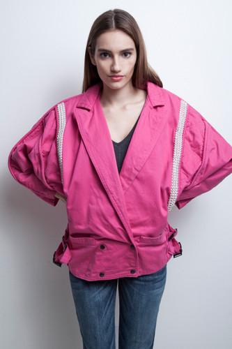 80s pink jacket diamante rhinestones fuschia batwing oversized vintage