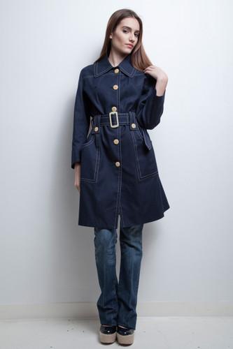 navy peatcoat coat unworn vintage 60s 70s belted contrast stitching M