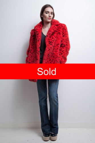 vintage 80s plush faux fur red jacket animal print oversized