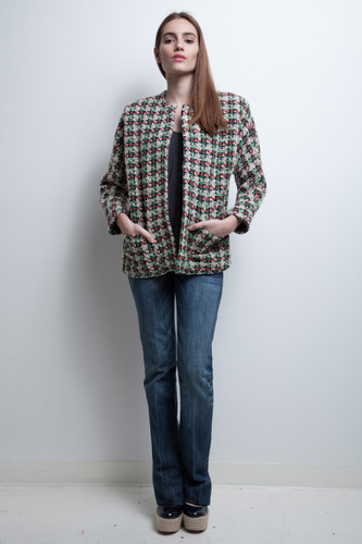 vintage 80s jacket chunky tweed red green white plaid boxy L XL