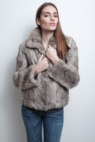 rabbit fur coat jacket vintage 80s gray brown ultra soft M