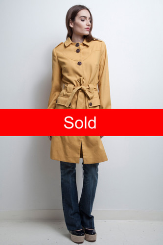 mustard yellow coat belted vintage all weather light weight S