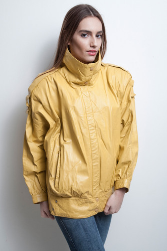 mustard yellow leather jacket vintage 80s oversized ONE SIZE plus size