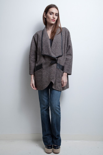 draped coat herringbone tweed genuine leather trims oversized vintage 80s