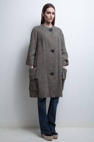 mod tweed coat black white vintage 1960s collarless cocoon oversized
