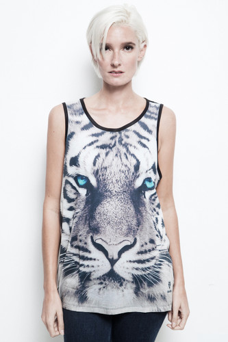 tiger tank top blue eye bengal all over print black unisex sublimation ONE SIZE