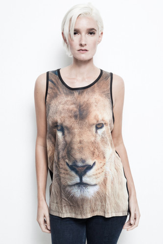 Lion tank top brown closeup face all over print black unisex sublimation ONE SIZE