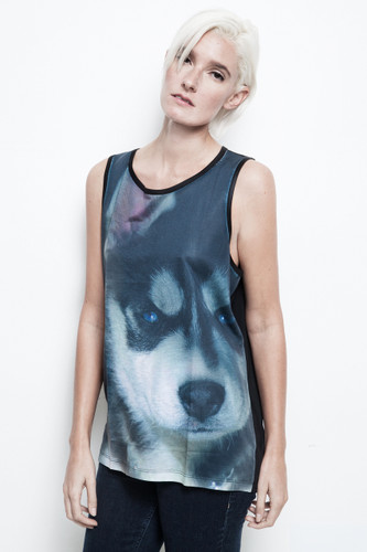 Siberian Husky tank top all over puppy print black unisex sublimation ONE SIZE